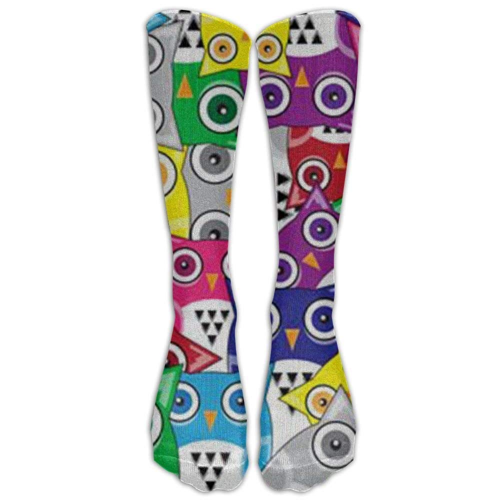 Colored Owls Crew Socks Crew socks Crazy socks for youth boys girls 3D Print Thin and light Gorgeous decoration