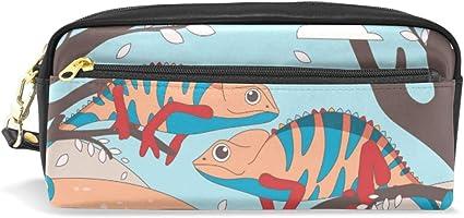 Estuche para lápices de gran capacidad con dos bolsillos de lagarto impermeables para estudiantes o mujeres: Amazon.es: Oficina y papelería