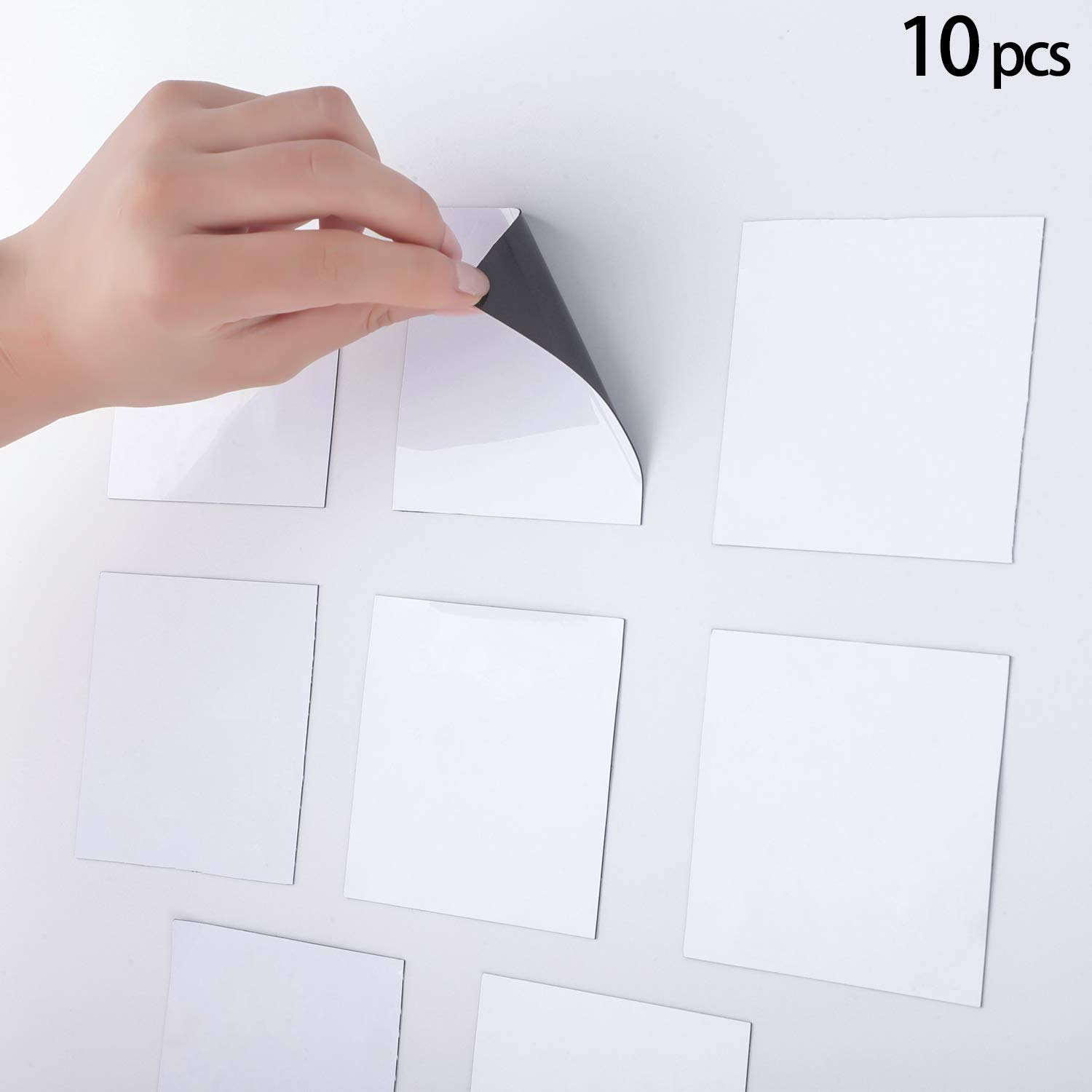 10 Pack Magnetic Stickies Dry-Erase Sticky Notes Reusable Whiteboard Stickers,Dry Erase Whiteboard Film Surface for Walls/Doors/Tables/Cabinets and More (5 x 5 Inch/ 13 x 13 cm)