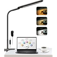 LED Desk Lamp with Clamp, KAVILO 13W Clip on Light, Flexible Gooseneck Swing Arm Lamp, Stepless Dimming, 3 Color Modes…