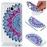 for Samsung Galaxy J7 2016 J710 Case, CrazyLemon Ultra Thin Transparent Soft TPU Clear Silicone Gel Skin Shell Varnish Technology Embossed 3D Creative Pattern Design Shock Proof Durable Scratch Resistant Rubber Protective Cover Case for Samsung Galaxy J7 2016 SM-J710 Mold - Datura Flowers