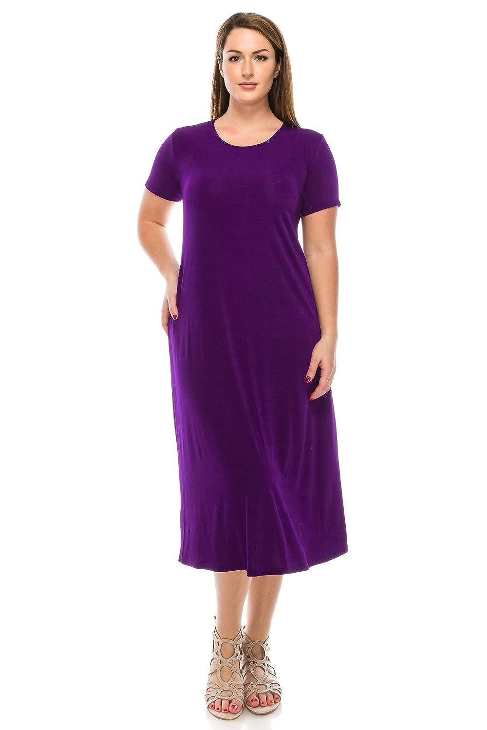 Jostar Womens Stretchy Long Dress Short Sleeve