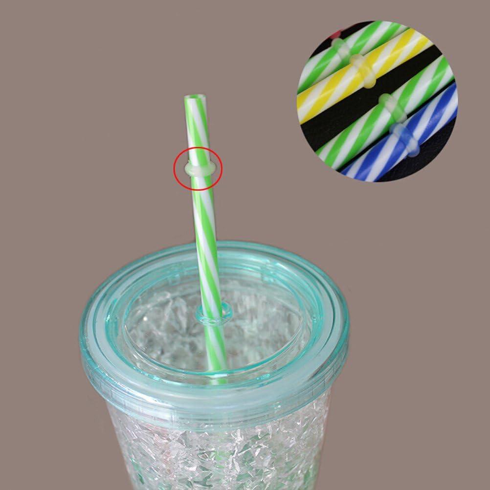 BESTOMZ 50pcs Two Colors Thread Pattern Reusable Plastic Thick Drinking Straws Mason Jar Straws Mixed Colors