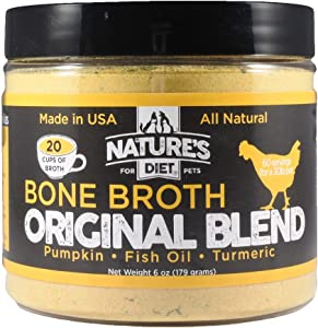 Nature's Diet Pet Bone Broth Protein Powder with Pumpkin, Fish Oil and Turmeric (Chicken, 6 oz = 60 Servings)