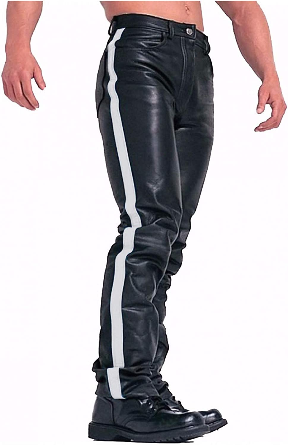 Mens Real Black Cow Leather Jeans Biker Jeans with Stripe Pants Trousers