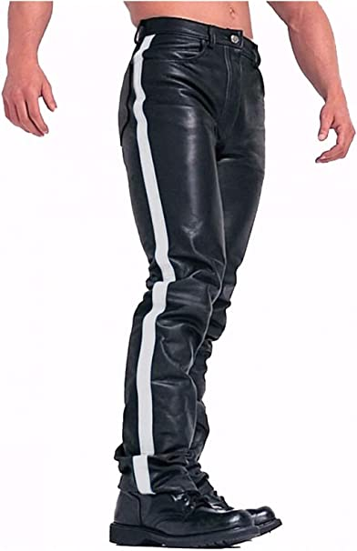Men/'s Real Leather Quilted Panels Double Zipped Pants Bikers//Gay Interest Pants