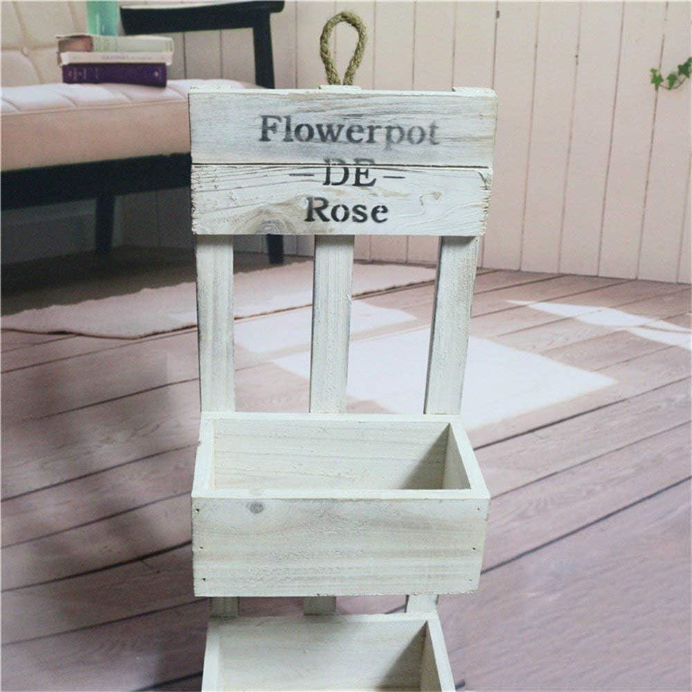 ACZZ Flower Stand Wood White in Shabby Look with 2 Floors Wall Decoration Flower Pot Double Layer Flower Rack Retro Nostalgia Shelf