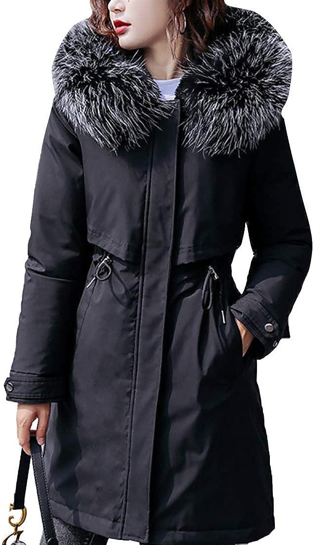 Aiweijia Femmes Hiver Longue Chaud Manteau Décontractée Grande Taille Épaissir Encapuchonné Vêtements d'extérieur Noir