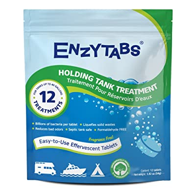 Enzytabs Holding Tank Treatment for RV, Marine, Camping, Billions of Enzyme Producing Bacteria Reduce Bad Odors and Liquefy Solids, 12 Treatments (12 Tablets): Sports & Outdoors