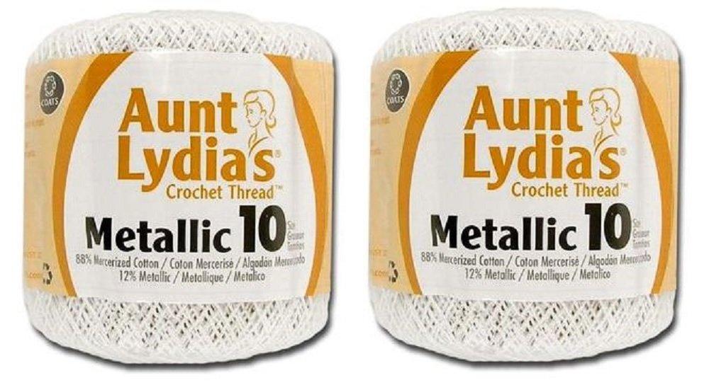 Aunt Lydia's Crochet Cotton Metallic Crochet Thread Size 10 (2 - Pack) (White/Silver) Coats & Clark