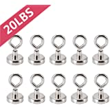 22KG Bkinsety 0.98D X 1.77H1 Powerful Heavy Duty Neodymium Magnetic Hooks with Eyebolt Pull Magnet,Diameter 0.98 inches 8 per Pack 25MM 48LB