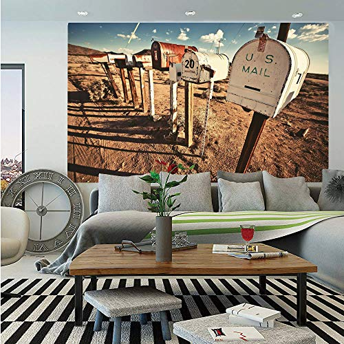 United States Wall Mural,Old Mailboxes in West America Rural Rusty Landscape Grunge Countryside Decorative,Self-Adhesive Large Wallpaper for Home Decor 83x120 inches,Brown Blue White