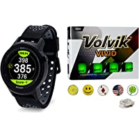 Golf Buddy aim W10 Bluetooth Wireless Golf GPS Smartwatch Bundle with 1 Dozen Volvik Golf Balls, 5 Ball Markers and 1 Magnetic Hat Clip