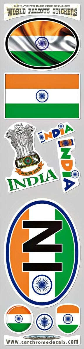 India 9 Stickers Set Indian Flag Decal Bumper stiker car Bike Laptop