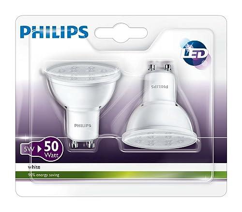 Philips 3000 K 36D GU10 LED Spot Light Bulbs 4.5 W (50W) - White, Pack of 2