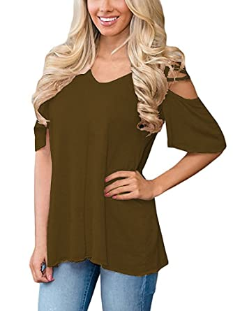 19fb54a2524275 OURS Casual Short Sleeve Fit Flare Cold Shoulder Cut Out Solid Sexy Tee  Shirt Blouse Tops