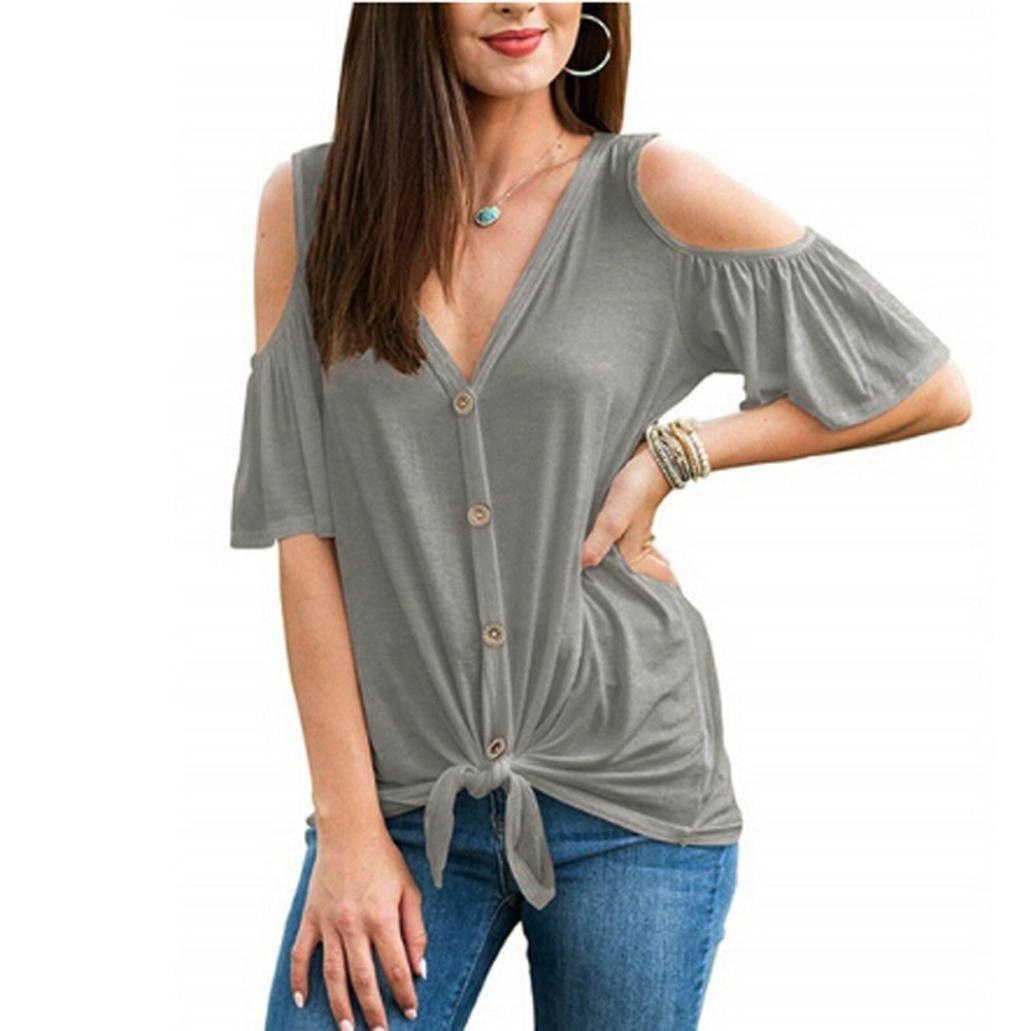 Camiseta Manga Corta Mujer Verano, Covermason Blusas de la Camisa del botón del Vendaje del V-Cuello de Manga Corta de Las Mujeres: Amazon.es: Ropa y ...