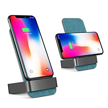 Fast QI Wireless Charging Stand, lamyik 2-coils Cargador inalámbrico soporte Pad para Iphone X/8 Plus/8, Galaxy S8/S7 Edge/S7/Nota 8, todo QI-enabled ...