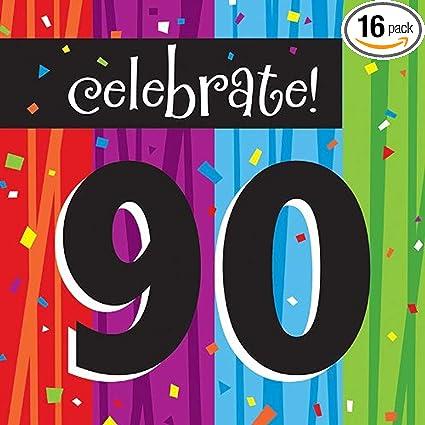 Amazon Com 16 Count Paper Lunch Napkins Celebrate 90 Milestone Celebrations Kitchen Dining