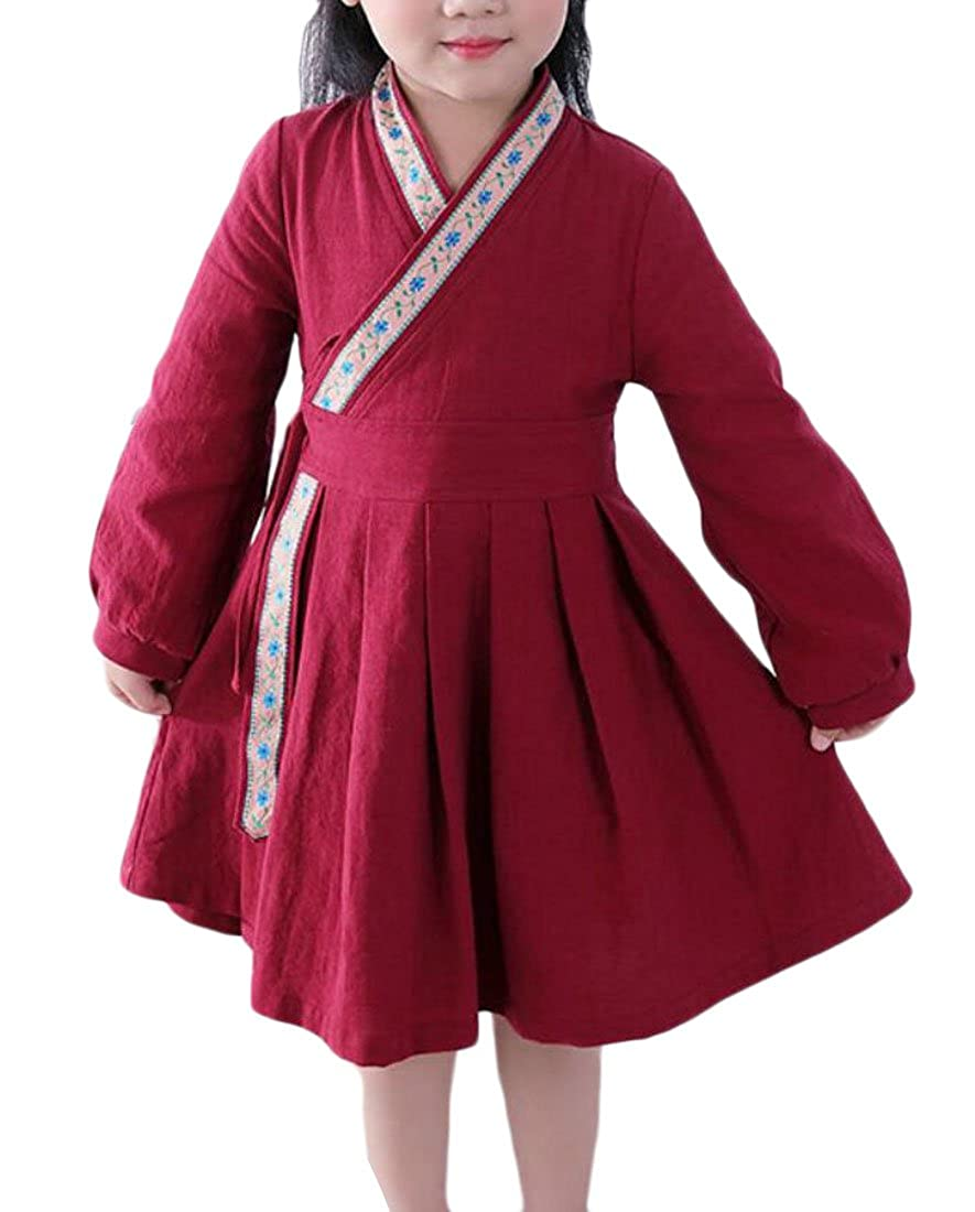Jaycargogo Girls Cute Chinese Style Long Sleeve Wrap Pleated Mini Dress 1 4T