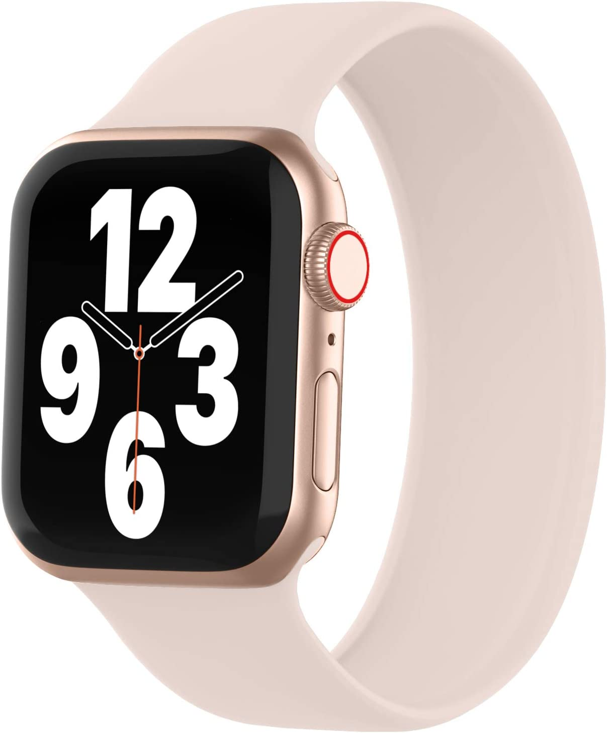 WASPO Solo Loop Band Compatible with Apple Watch Band 38mm 40mm 42mm 44mm, sport Elastic Silicone Bands with no Clasps or buckles Compatible for iWatch Series 6/SE/5/4/3/2/1(38mm/40mm-S, Pink Sand)