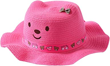 QTKJ Kids Anti-UV Straw Sun Hat Wide Brim Beach Hat with Cute Bear and Bow Decorative Cat Ear Summer Cap for Girl Boys Pink