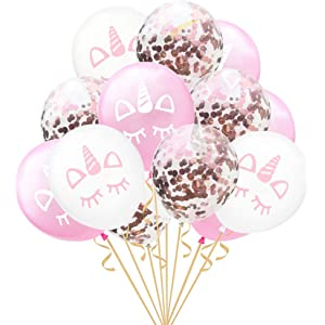 PROKTH Rose Gold Confetti Balloon, 15pcs 12 inches Unicorn Party Decoration Latex Unicorn Balloons Birthday