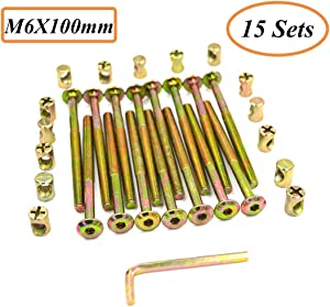 Socell M6 x 100mm Zinc Plated Hex Drive Socket Cap Furniture Barrel Screws Bolt Nuts Assortment Kit for Furniture Cots Beds Crib Hardware Screws Crib and Chairs(Pack of 15 and 1 Hex Key for Free)
