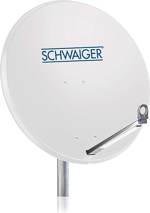 SCHWAIGER -180- Antena satelital | antena satelital con brazo de soporte LNB y montaje en el mástil | antena satelital de aluminio | 75 x 85 cm