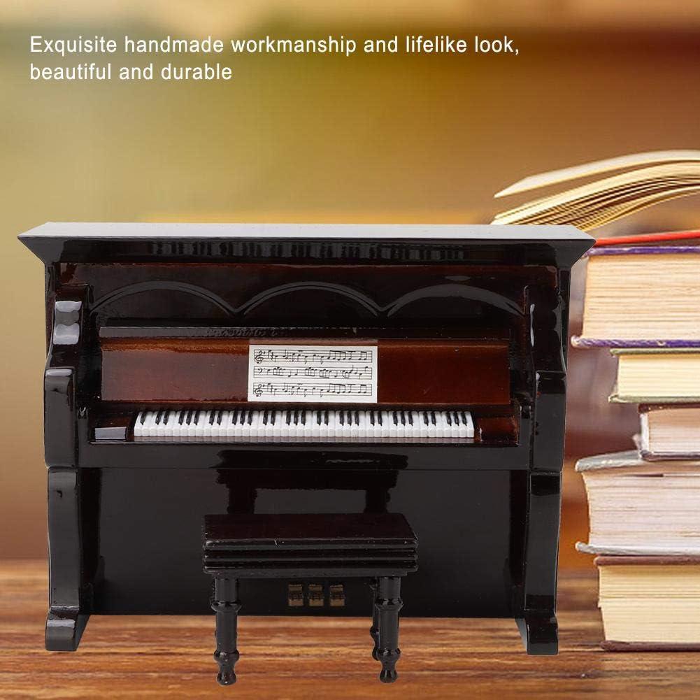 Hztyyier Miniature Piano Figurine Wooden Black Upright Piano Replica Dollhouse Accessory for Child Mini Doll Furniture
