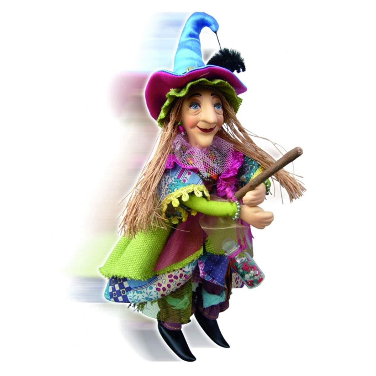 Witches of Pendle - Alice Nutter Witch Flying (Floral) 24cm 5897S-5