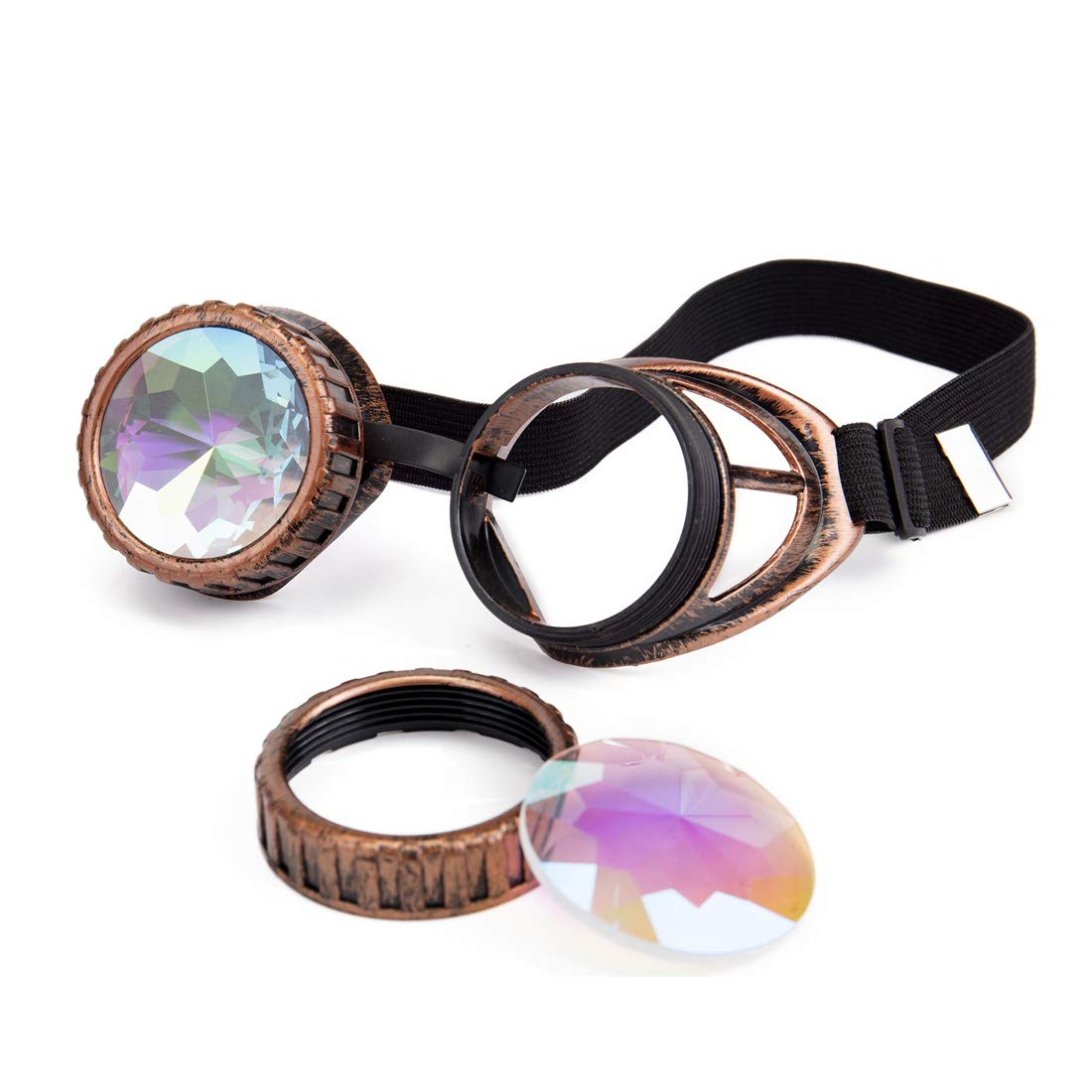 AFUT ABS Kaleidoscope Rainbow Lens Glasses Costume Photo Props Vintage Steampunk Goggles Glasses Gothic Cosplay Goggle AFUT@MG031-MG032-BB2