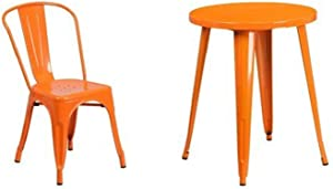 Flash Furniture 24'' Round Orange Metal Indoor-Outdoor Table Set with 2 Cafe Chairs