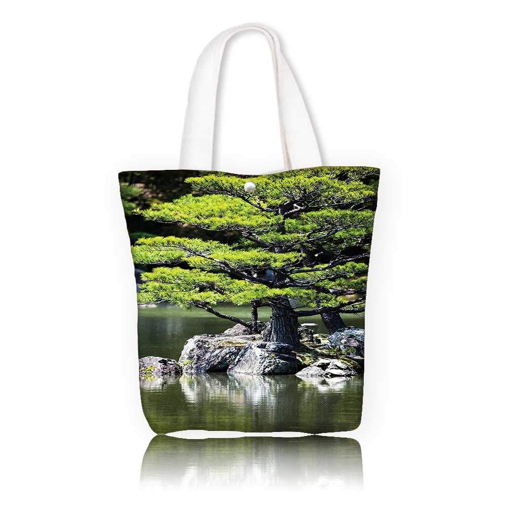レディース キャンバス トートバッグ - 幅11 x 高さ11 x D3 インチ/ショッピングトラベルトートバッグ 日本の装飾 松の木 湖 石付き 日本のオーガニック自然の景色 アジアの庭のテーマグリーン。 W14 x H15.7 x D4.7 INCH W14 x H15.7 x D4.7 INCH カラー1 B07K2YDHSZ