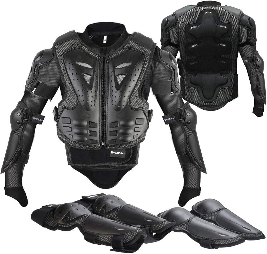 Fansport 5 Piezas Motos Ropa Protectora Niños,Rodillera Transpirable Protector de Pecho Equipo de protección para Motocross,Ciclismo,Esquí,Patinaje