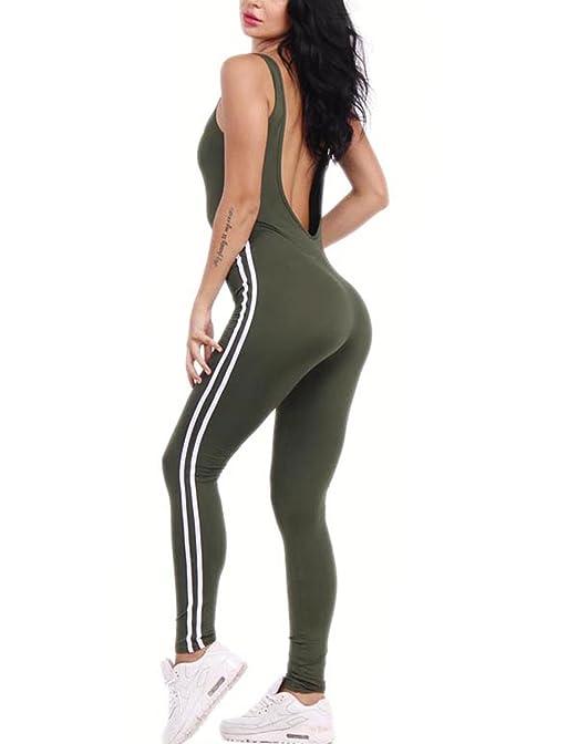 12 opinioni per Tuta intera aderente da donna, schiena nuda, senza maniche, sexy