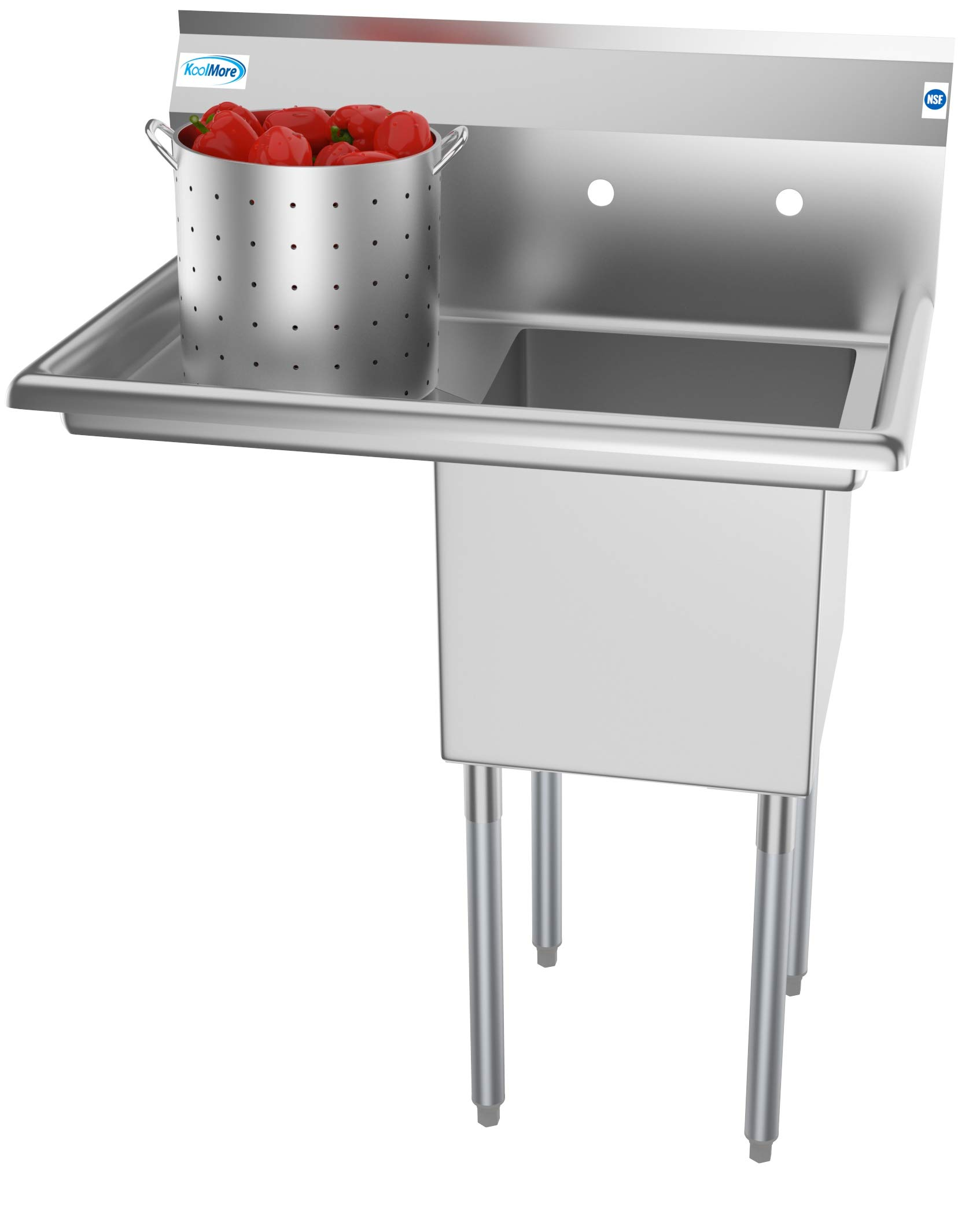 KoolMore 1 Compartment Stainless Steel NSF Commercial Kitchen Prep & Utility Sink with Drainboard - Bowl Size 15'' x 15'' x 12'', Silver