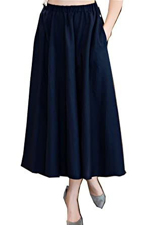 3a614f0dd1 Shanghai Story Long Spring Casual Solid Chinese Style Bohemian Skirts 83cm  Blue