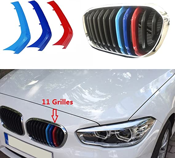 9Grilles one Side Muchkey for BMW 1 Series 116i 118i 120i 2015-2017 Car Front Grille Insert Trims 3D M Styling Grill Cover Insert Trim Clips 3Pcs