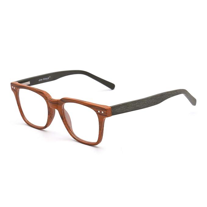 ed59d5eeb12 Amazon.com  Square Wood Optical Glasses Frame Rx-able Spring Hinge  Eyeglasses for Women Men Brown  Clothing