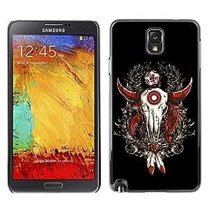 ZAAAZ PC Polycarbonate Aluminium Back Case Cover Samsung Galaxy Note 3 III / Cool Western Buffalo Skull Dreamcatcher /