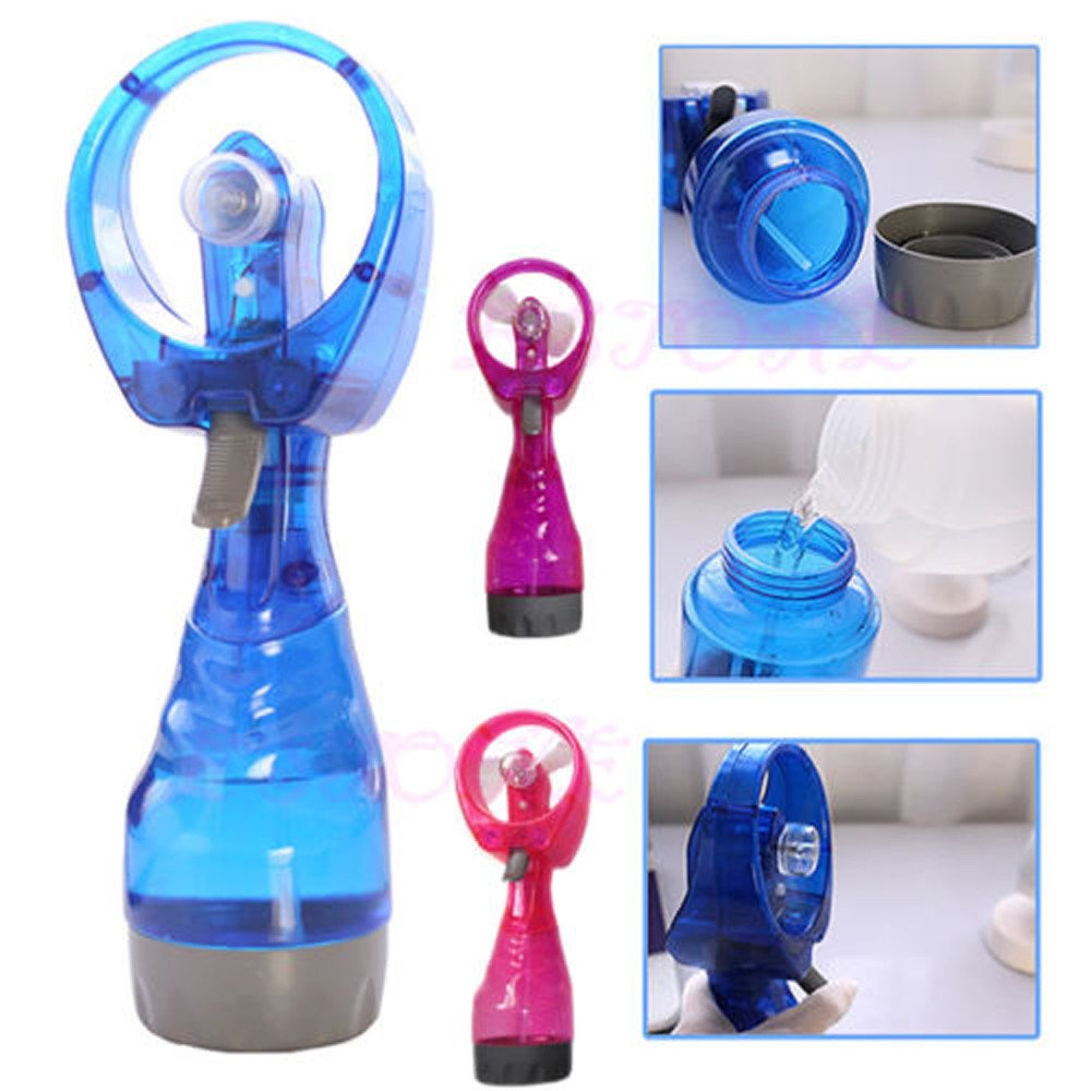 New Portable Mini Hand Held Cooling Fan Cool Water Spray Misting Fan Mist For Travel Beach Camping Pool (Yellow, Mini)