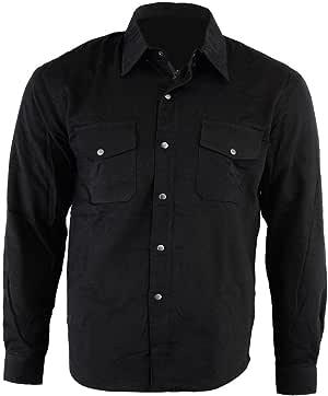 Bikers Gear Australia - Camisa protectora de franela para motocicleta con forro de aramida negro negro medium: Amazon.es: Coche y moto