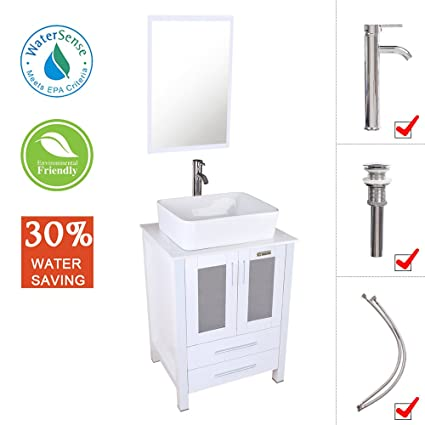 Eclife 24u0026quot; Bathroom Vanity And Sink Combo Stand Cabinet White Ceramic  Vessel Sink And Chrome