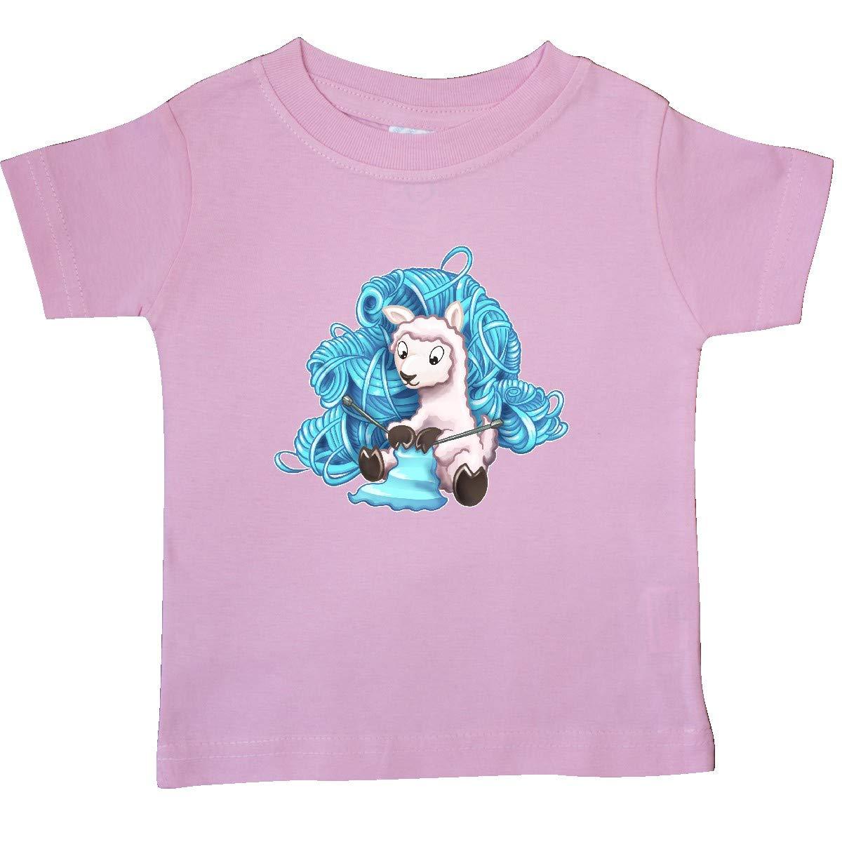inktastic Cute Llama Knitting with Blue Yarn Baby T-Shirt