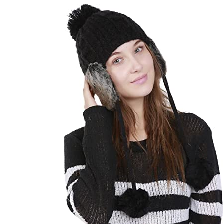 f2acecaa9b8dd JIANGfu Women Warm Crochet Winter Wool Knit Ski Beanie Caps Hat Protect  Ears Hairy Bulb (Black