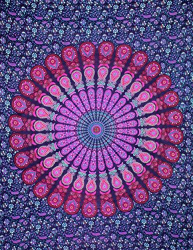 (ANJANIYA Twin Peacock Mandala Pink Tapestry Wall Hanging Mandala Psychedelic Tapestries Indian Bedding Cotton Bedspread Picnic Bedsheet Blanket Wall Art Hippie Tapestry (Pink Mandala, 56