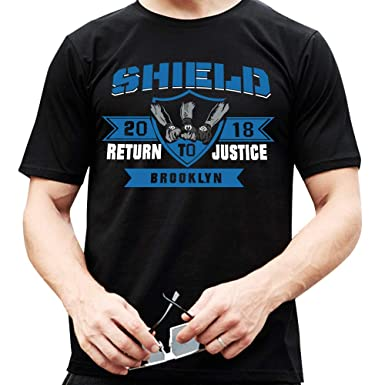 95e8712b Amazon.com: WWE 2018 Return Justice Brooklyn Shield Tshirt - Shield United  Tshirt: Clothing