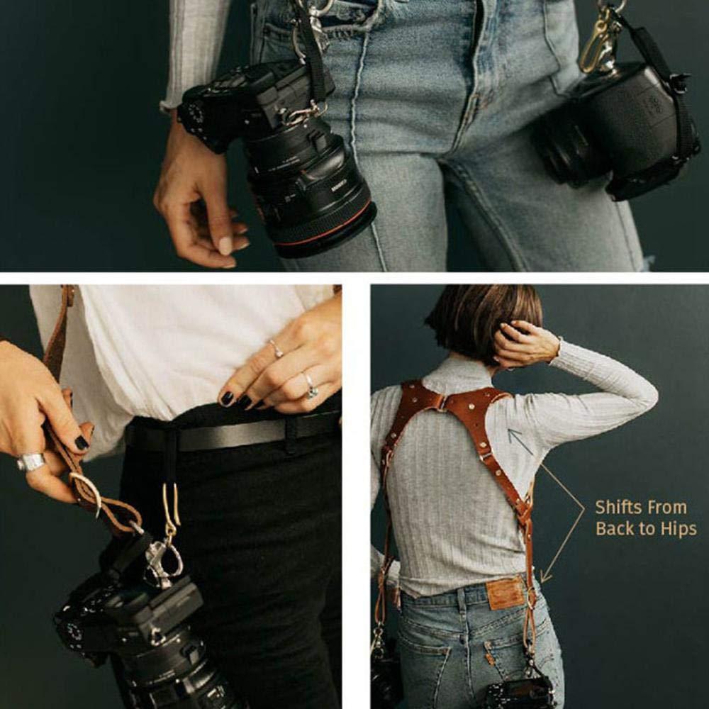 FOONEE - Correa Ajustable de Piel auténtica para cámara réflex Digital Nikon Canon, Sony, Correa de Piel para cámara réflex Digital, Color marrón: ...