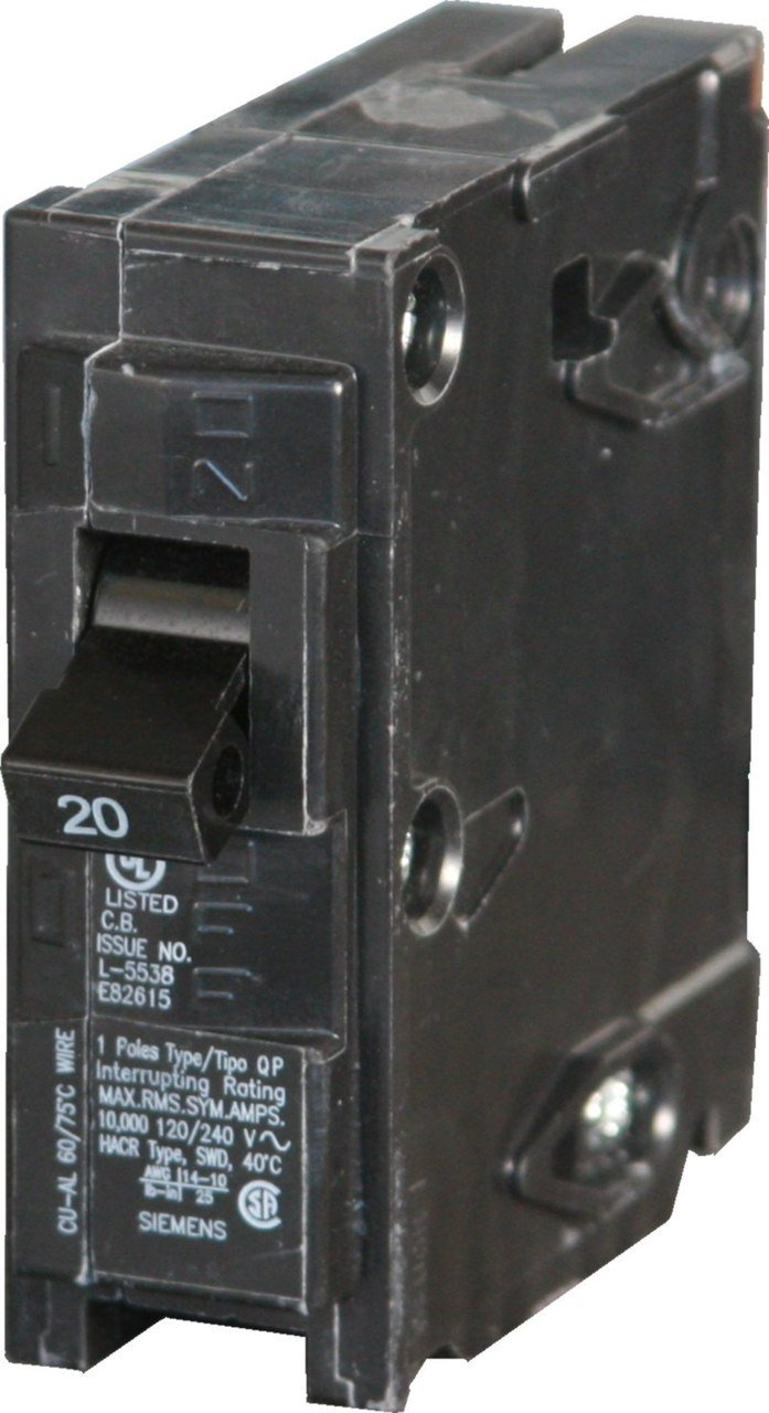Siemens Q120 Circuit Breaker, 1-Pole 20-Amp 2-pack